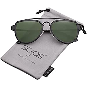 SojoS Fashion Aviator Sunglasses Polarized Mirrored Lens Double Bridge SJ1051 (C19 Black Frame/G15 Polarized Lens, 64)