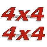 IronBuddy 4x4 Logo Sticker 3D Metal Four-Wheel Drive Logo Emblem Rear Trunk Sticker Decals for Truck and Car (Pack of 2)