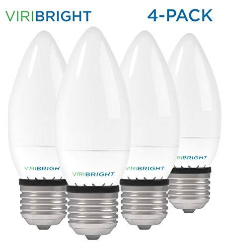 LED Candelabra Bulbs, Viribright B10 (3.2W), 25 Watt Equivalent led Light Bulbs, Warm White (2700K), 270 Lumen, E26 led Bulb Base - Pack of 4