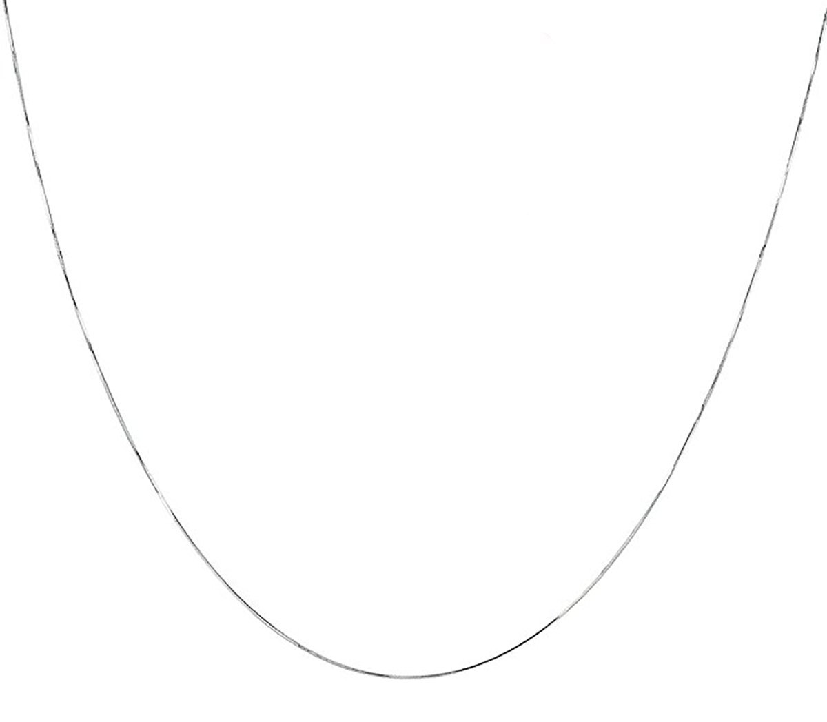 925 Sterling Silver Italian 1MM 8 Side Diamond Cut Snake Chain Necklace Lobster Claw Clasp With Extra Free Gift (1 mm 20.0 Inches 8DS Rhodium Plated 925 Silver)