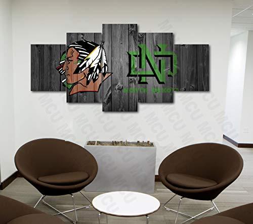 5 Piece American Football College University Teams Art Decor Wall Poster (5 Piece Medium, North Dakota Fighting Sioux)]()