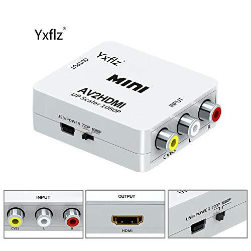 (VGA to HDMI, 1080P VGA and Audio to Video Converter Box Adapter for HDTVs, Monitors/Displays, Laptop Desktop Computer (white1) (AV to HDMI))