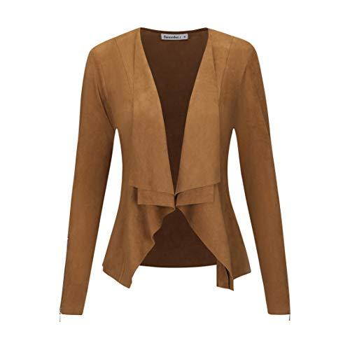 Sweetbei J Womens Faux Suede Waterfall Coat Cardigan Open Front Short Jackets Brown L