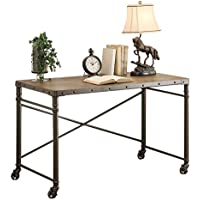 Themis Writing Desk w/Functional Wheels in Oak & Brown Metal
