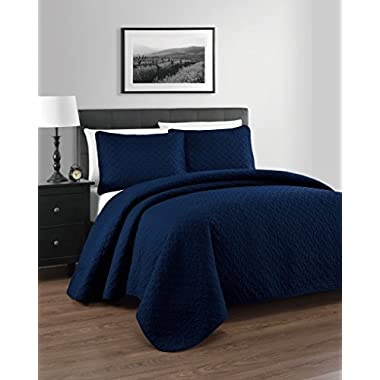 Zaria Quilted Coverlet Set With Stitched Pattern - 3 Pieces - Full/Queen, Navy Blue