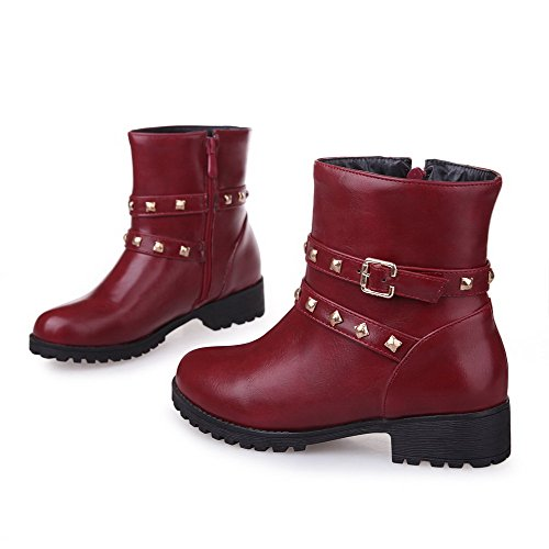Toe Solid AmoonyFashion top Heels Low Claret Women's Boots Closed Round Low PU T8xntqr8