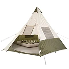 Be the talk of the campground or music festival in this fun tent with nostalgic teepee design. The unique steel frame eliminates the need for a center support pole and provides flexible space for up to seven people. With 105 square feet of li...