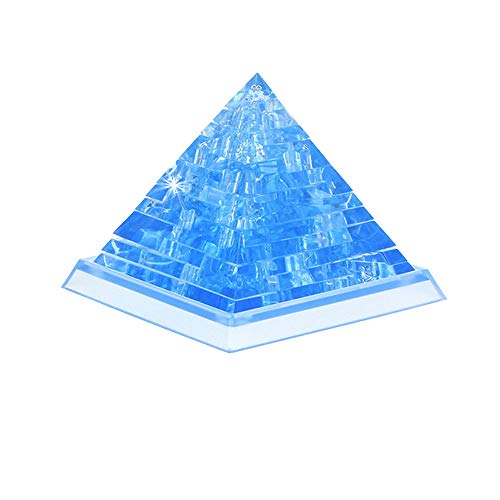3d Pyramid Puzzle - Hisoul Hot  3D Crystal Puzzle Toy Cute Pyramid Model DIY Blocks Building Gadget Toy for 14 Years Old or Above Kids (Blue)