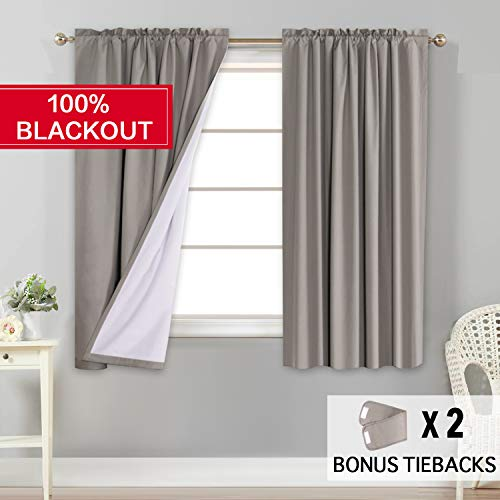 (Flamingo P Window Treatment Rod Pocket 100% Blackout Curtains Waterproof Thermal Insulated Taupe Curtains with White Backing (2 Panels Set), 52 by 63 Inch,2 Bonus)
