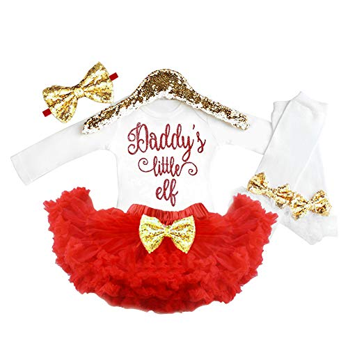 Christmas Outfits Baby Girl Daddy's Little Elf Romper with Tutu Dress + Headband + Leg Warmer 4Pcs Clothes Sets