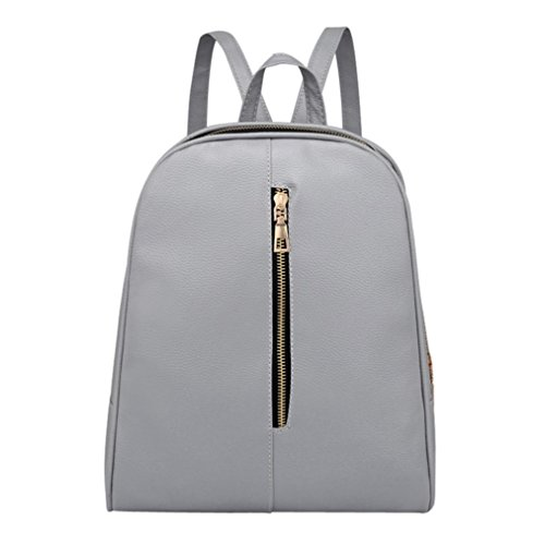 Barbie B Laptop (YJYDADA Bags,Woman Fashion Leather Backpack Female Preppy Style Zipper Mochila School Bag (Light Gray))