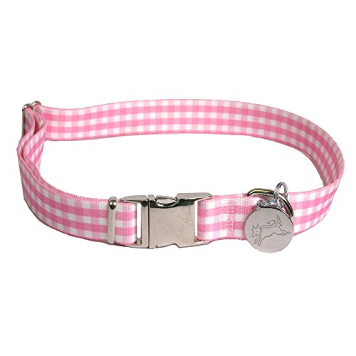 "Southern Dawg Gingham Pink Premium Dog Collar - Size Large 18"" - 28"""