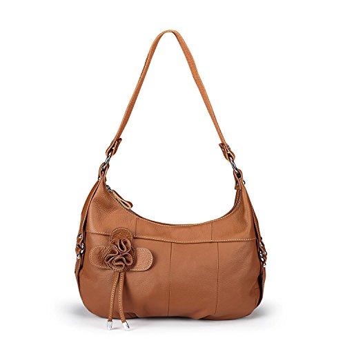 Lecxci Womens Multi-purpose Leather Sling Crossbody Purse, Travel Gadget Bags Shoulder Handbags for Women (Side Flower, Brown)