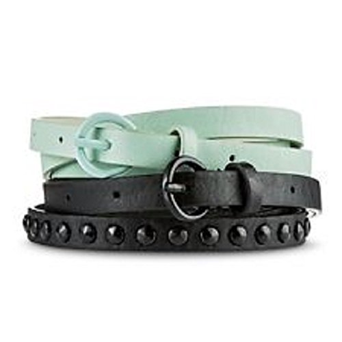 [Women's Black Studded And Solid Mint Belt Set Mossimo] (Mossimo Black Belt)