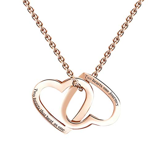 (niyokki Girlfriend Gifts for Her, Double Heart Necklace for Women Girls, Rose Gold-Plated Stainless Steel Heart Pendant Necklaces for Girlfriend Wife, Gifts for Valentine's Day (Rose)