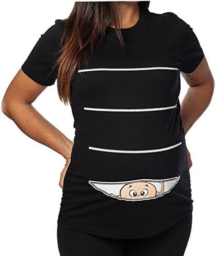 Bimbo Che esce dalla Zip Stampa Divertente by tshirteria T-Shirt Lunga da Donna Ideale per Il Premaman
