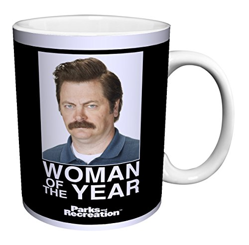 Parks and Recreation Ron Swanson Woman of the Year Workplace Comedy TV Television Show Ceramic Gift Coffee (Tea, Cocoa) Mug, 11 Ounce (Best Comedies Of The Year)