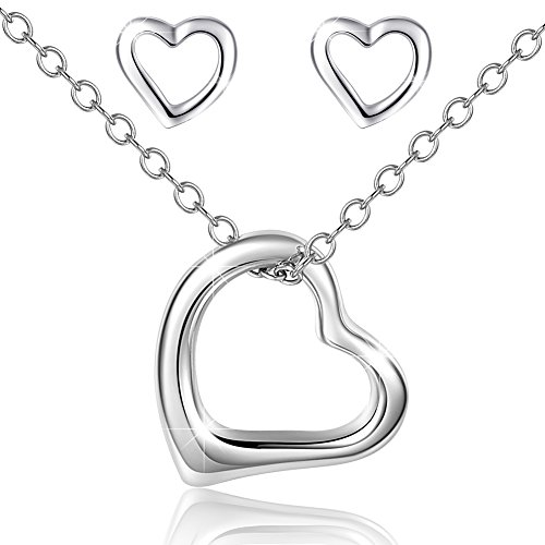 925 Heart Necklace Earrings Set ,Mouttop Forever Love Rhodium-Plated , Sterling Silver Jewelry Set 16+1