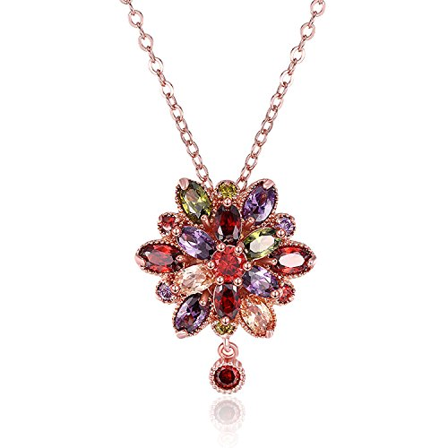 Gold Plated Colorful Crystal (18k Rose Gold Plated Colorful Crystal Snowflake Series Birthstone Necklace Pendant AAA Zirconia Necklaces)