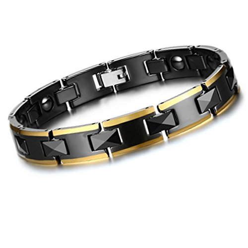 [Mens Gold Stainless Steel Relieve Fatigue Magnetic Therapy Pain Health Bracelet a1] (Indian Costumes Ideas Homemade)