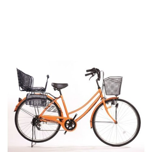Lupinusルピナス 自転車 26インチ LP-266UD-KNR-B 軽快車 シマノ外装6段ギア ダイナモライト 後子乗せブラック B073LNB6SQ オレンジ オレンジ
