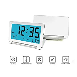 Foldable Alarm Clock, 12/24 Time Display Format, Clamshell Travel Digital Clock with Light