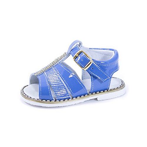 QKIS , Sandales pour fille Cuir vernis lazulite et salamandre métal bleu