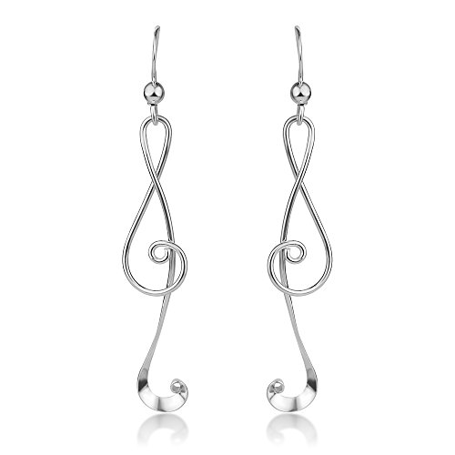 925 Sterling Silver Treble G Clef Musical Note Music Lover Curvy Design Dangle Hook Earrings 2.2