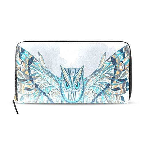Womens Wallets Ethnic Owl Wallpapers Leather Passport Wallet Change Purse Zip Handbags