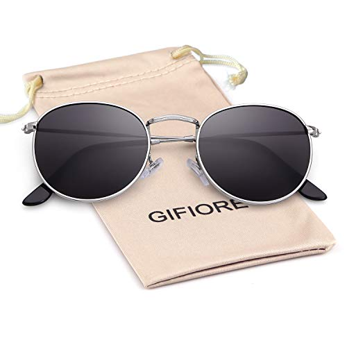 Round Sunglasses Polarized Sunglasses For Women Men Reflective Sunglasses 3447 (Silver Frame/Grey Polarized Lens(Round)) (Best Polarized Sunglasses 2019)