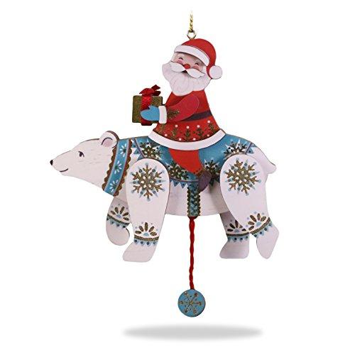 Polar Bear Wood - Hallmark Keepsake Christmas Ornament 2018 Year Dated, Pull-String Polar Bear and Santa, Wood Polarbear