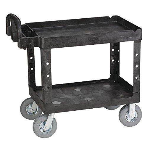 Rubbermaid Black Plastic 2-Shelf Lipped Top Heavy-Duty Utility Cart - 45 1/4 L x 25 7/8 W x 37 1/8 H