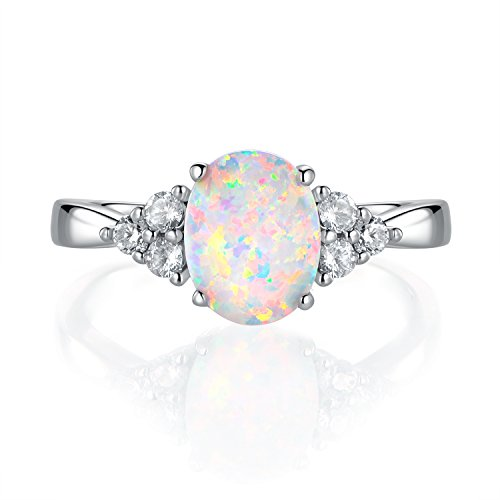 GEMSME October's Birthstone Gemstone Oval Opal Women Rings (Opal Gold Gemstone)