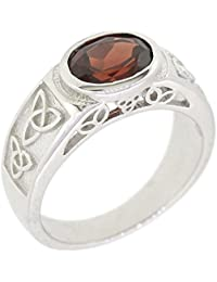 Sterling Silver Natural Gemstone Amethyst Citrine Garnet Peridot Celtic Knot Ring