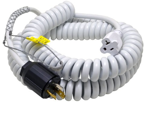 Conntek 70046-L520 Up to 15-Feet Heavy Duty 12/3 Coiled Spring Cord 20-Amp 125V L5-20 Plug with Drop Grip to U.S 15/20-Amp Female Connector
