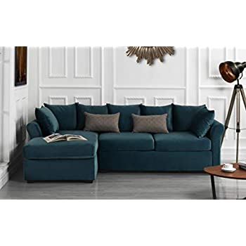 Amazon Com Modern Large Velvet Sectional Sofa L Shape