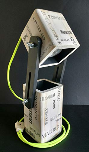 Lámpara extensible led para escritorio de madera reciclada de ...