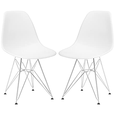 Poly and Bark Eames Style Molded Plastic Eiffel Chrome Wire Leg Side Chair, White, Set of 2 - Chair Chrome Base