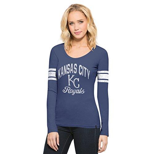 MLB Kansas City Royals Women's 47 Homerun Long Sleeve Scoop Tee, Large, Bleacher Blue