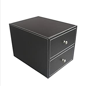 GFYWZ PU Leather Desktop File Cabinets 2 Layer Drawer Storage Box Fashion  Creative Office Supplies Lnformation Storage Cabinet , Black