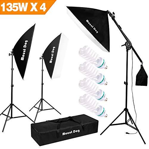 "1350W Photography Studio Lighting Kit Arm for Video and Youtube Continuous Lighting by MOUNTDOG 20x28"" Professional Shadow Boom box Lighting Set Headlight Softbox Setup with 4 PCS 5500K Daylight Bulbs"