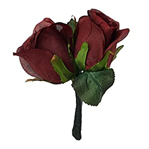 Burgundy Silk Rose Double Boutonniere - Groom Boutonniere 56