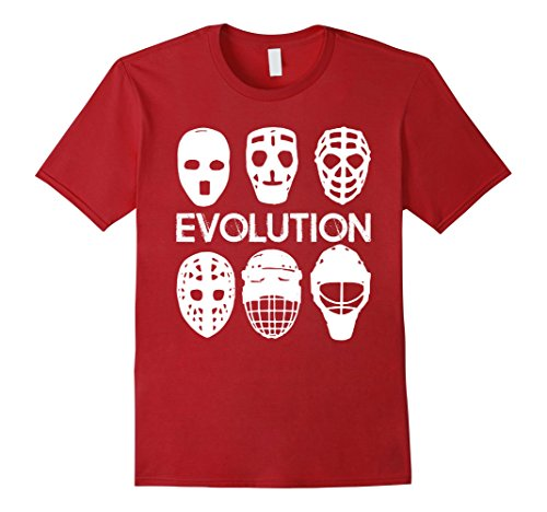 Mens Goalie Mask Evolution Shirt - Gift Ice Hockey Player Small Cranberry