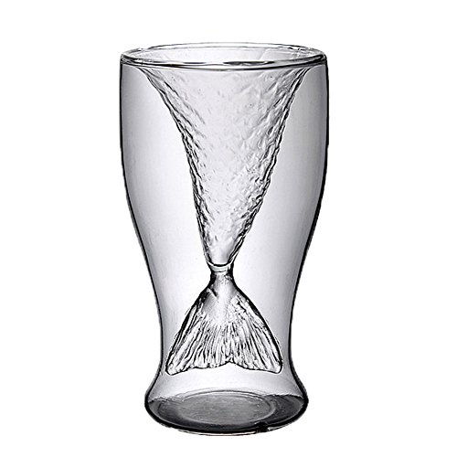 FTSUCQ Mermaid Creative Transparent Beer Water Wine Drinking Glass Mug Shotglasses, Set of 4]()