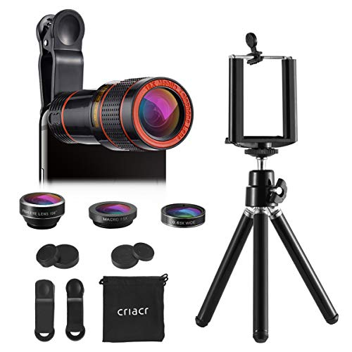 (2019 New) Phone Camera Lens, 12X Zoom Lens, Fisheye Lens, Macro Lens and Wide Angle (Attached Together), Telephoto Lens, Phone Holder, Tripod, 3 in 1 Smartphone Cell Phone Lens Kit (Best Small Camera Phone 2019)