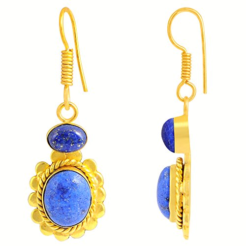 Lapis Lazuli Gemstone Yellow Gold Overlay Oval Dangle Earrings For Women's And Girls , Genuine Gemstone, Handcrafted, Best Gift For Any Occasion, Free Gift Box (11x9 MM, 7x5 MM, 10.60 (Yellow Gold Genuine Lapis Earring)