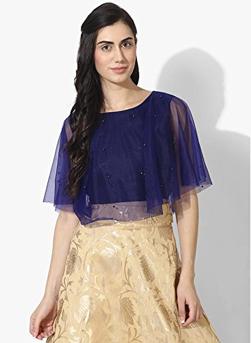 0e2445867b Akimia Navy Blue Cape Pearl Crop Top Silk Round Neck Cape Sleeves XX-Large