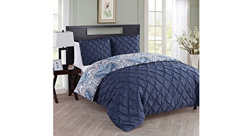 3 Piece Navy Blue Grey Beige Grey Pinch Pleated Damask Themed Duvet Cover King Set, Pinched Pleat Floral Pintuck Diamond Tufted Textured Bedding, Pin Tuck Puckered Textured Pattern, Teal Gray Indigo