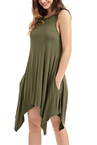 HOTAPEI Sleeveless T Shirt Dresses Pockets