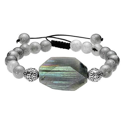 Jovivi 8mm Handmade Natural Spectrolite Healing Crystals Gemstone Bracelet Yoga Balancing Adjustable Beaded Bracelet for Men Women